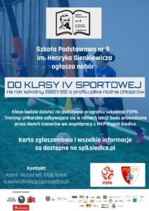 Plakat informujący o naborze do klasy IV sportowej o profilu piłka nożna